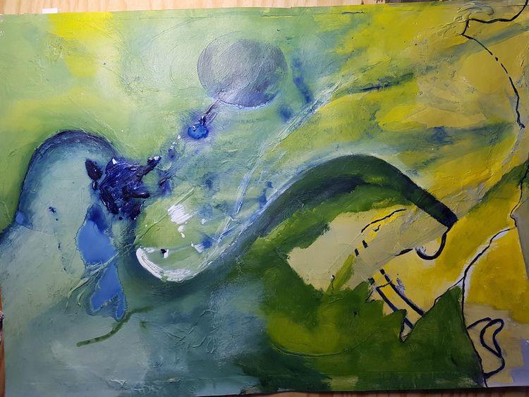 Blau, Grün, Gelb, Linie, Abstrakt, Rund