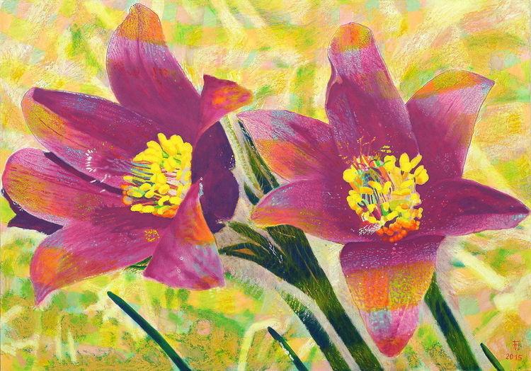 Pastellmalerei, Landschaft, Blumen, Silber, Holz, Ölmalerei