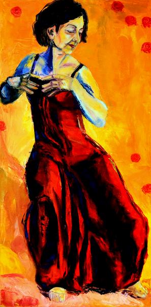 Tanz, Hodler, Gelb, Kleid, Rot, Frau