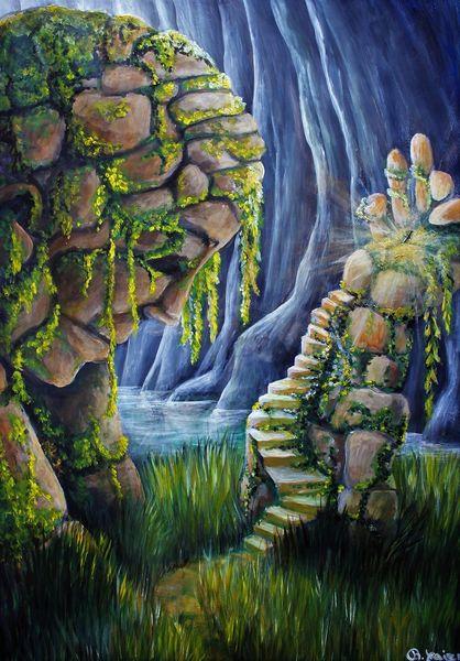 Felsen, Wasser, Treppe, Schwert, Malerei