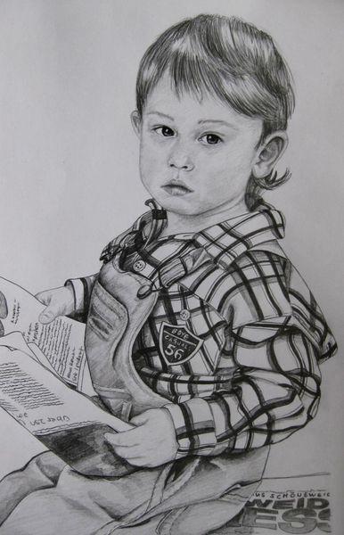 Bleistiftzeichnung, Kind, Lesen, Zeitung, Zeichnungen