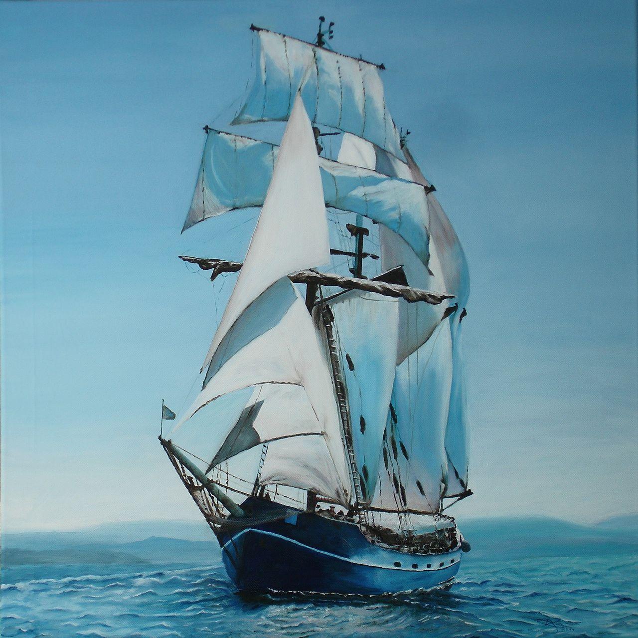 Segelschiffe auf dem meer  Bild: Meer, Segelschiff, Malerei von Keanu Dahinden bei KunstNet