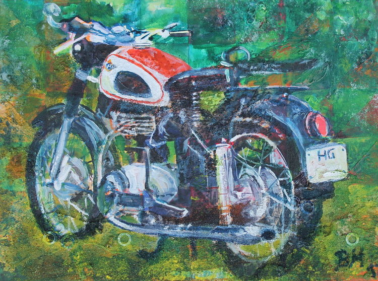 Retro, Horex, Motorrad, Malerei,