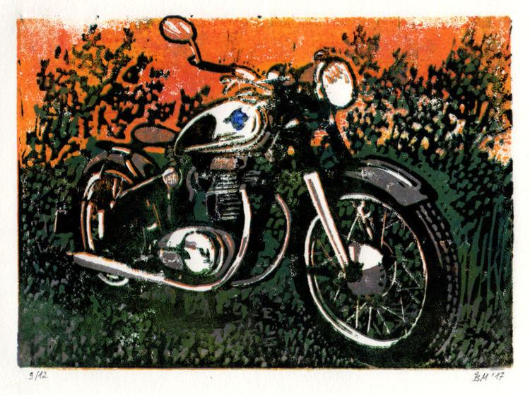 Motorrad, Oldtimer, Horex, Druckgrafik,