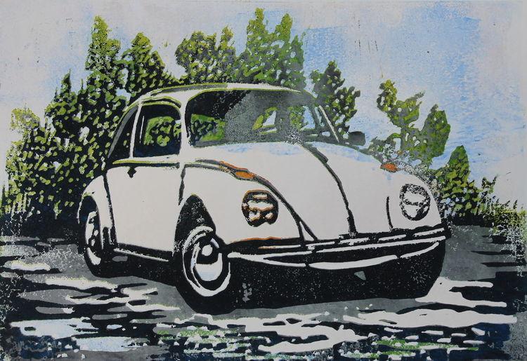 Vw, Volkswagen, Käfer, Oldtimer, Druckgrafik