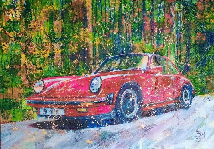 Porsche, Rot, Klassiker, Oldtimer, Malerei