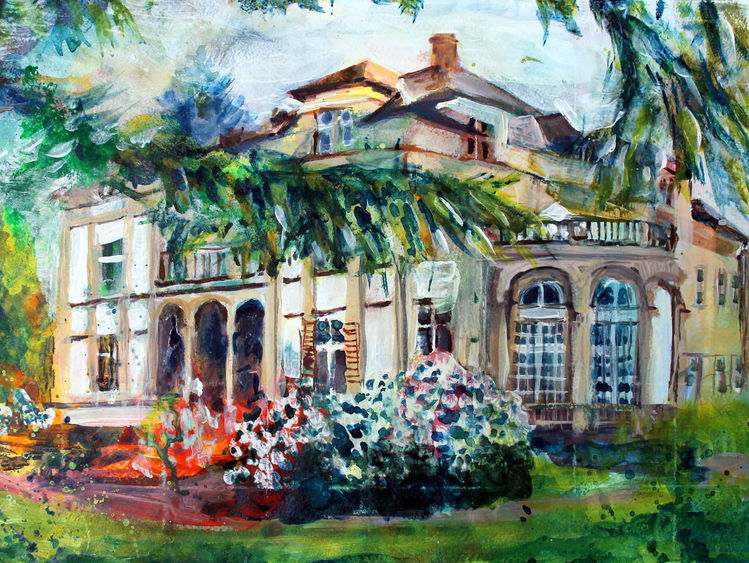 Villa, Gebäude, Bad homburg, Park, Malerei, Bad