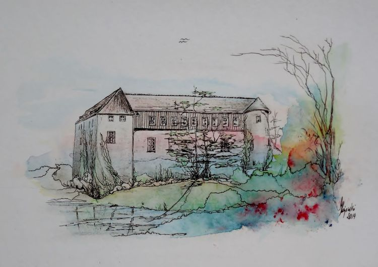 Wasserburg neuhaus, Hajewski gc, Drawing mix ink, Zeichnung, Wassercolor, Colourpen