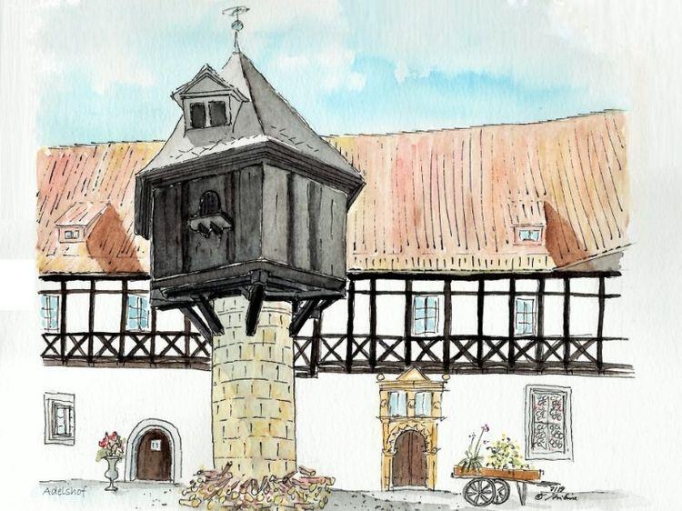 Quedlinburg, Urban sketching coloriert, Stadt, Aquarellmalerei, Aquarell, Zeichnung coloriert