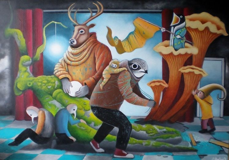 Gemälde, Surreal, Baum, Mischwesen, Raum, Malerei
