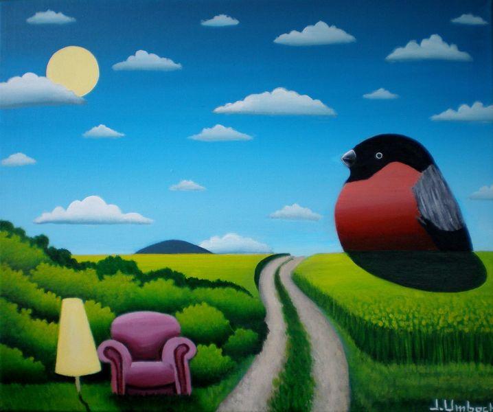 Gimpel, Sessel, Abend, Gemälde, Landschaft, Feldweg