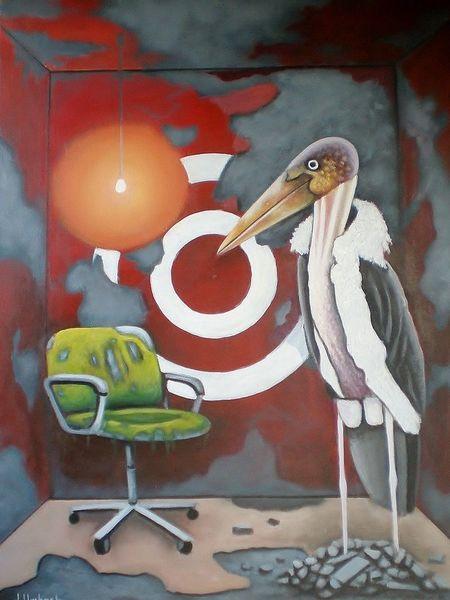 Surreal, Raum, Vogel, Gemälde, Kammer, Marabu