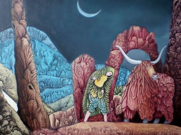Berge, Büffel, Décalcomanie, Gemälde, Landschaft, Nacht