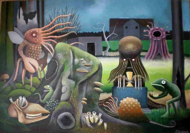 Baum, Gemälde, Baumstumpf, Lovecraft, Teich, Haus