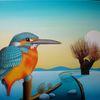 Wiese, Pfahl, Malerei, Natur
