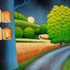 Getreidefeld, Nacht, Feldweg, Mond