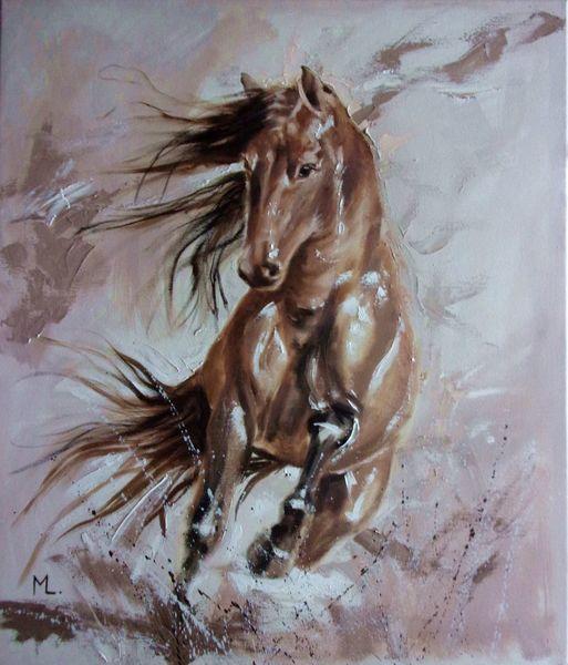 Laufen, Licht, Pferde, Braun, Wild, Malerei