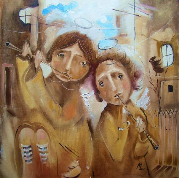 Figural, Ölmalerei, Engel, Braun, Straße, Musik