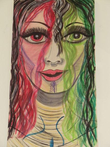 Acrylmalerei, Rot, Dame, Malerei, Mädchen