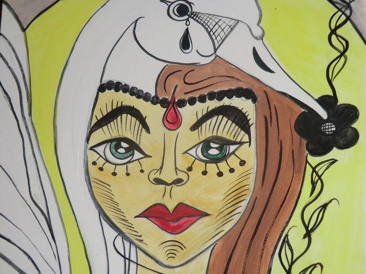 Traumwelt, Mädel, Acrylmalerei, Träumereien, Malerei