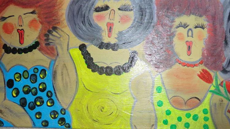 Besinnlichkeit, Jung, Reiz, Weiblichkeit, Dame, Malerei