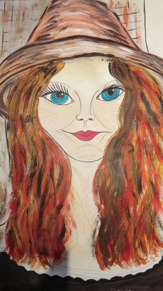 Mädel, Träumereien, Frau, Rot, Malerei