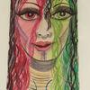 Dame, Acrylmalerei, Rot, Malerei