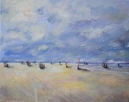 Meer, Himmel, Zeitgenössisch, Ölmalerei, Strand, Malerei