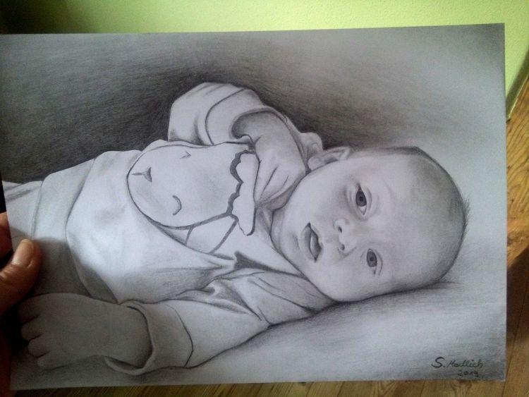 Realismus, Baby, Zeichnung, Zeichnungen,