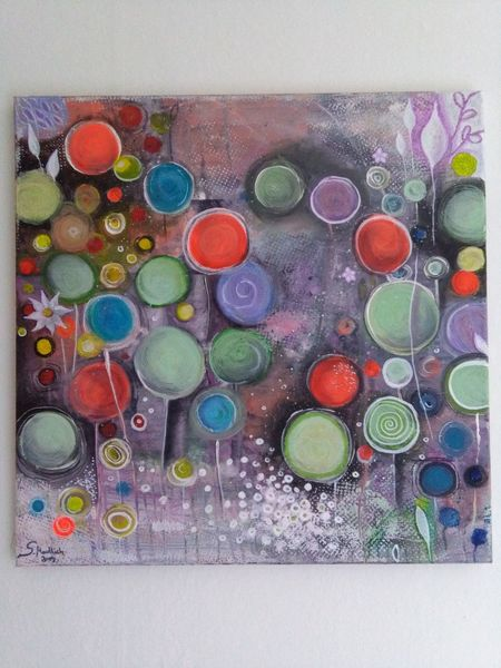 Kreis, Beet, Bunt, Abstrakt, Blumen, Malerei