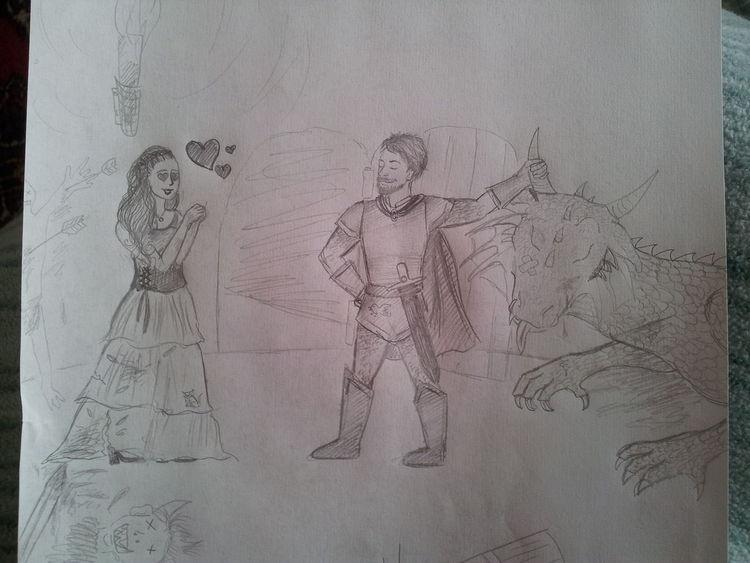 Ritter, Bleistiftzeichnung, Zeichnungen, Zeichnung, Dame