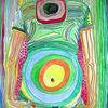Space Man - acryl, kunst, künstler, hintergrund, hintergründe, wunderschön, blau, pinsel, leinen, farbe, handwerk, entwurf, goldmedaille, grün, medien,Öl, originell, gemälde, muster, rosa, rot, spiegelung, gestalten, atelier, oberfläche, textur, weiß, gelb, Udo, vong