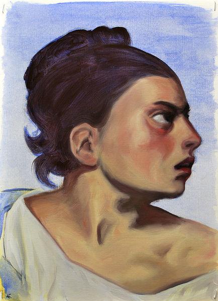 Klassisch, Studie, Portrait, Ölmalerei, Malerei
