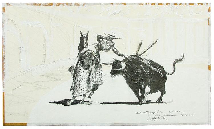 Pferde, Tauromachie, Stier, Zeichnungen