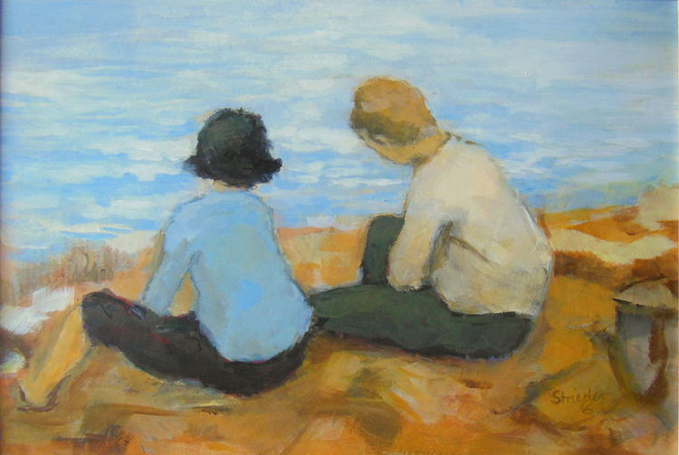 Gespräch, Sitzen, Skizze, Malerei, Liebe, Menschen
