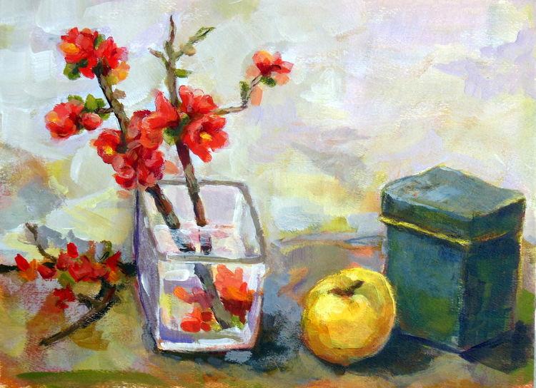Strauch, Japanische zierquitte, Frühling, Wärme, Blumen rot, Stillleben