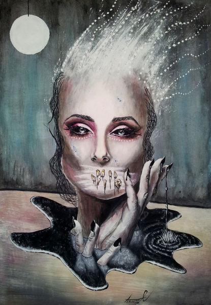 Horror, Malerei, Destrudo, Schwarz, Frau, Surreal
