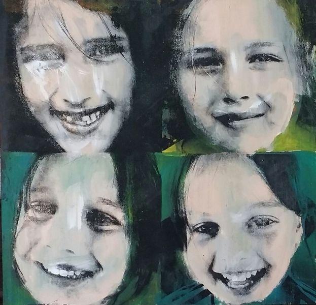 Popart, Portrait, Siebdruck, Kids, Druckgrafik, Schwestern