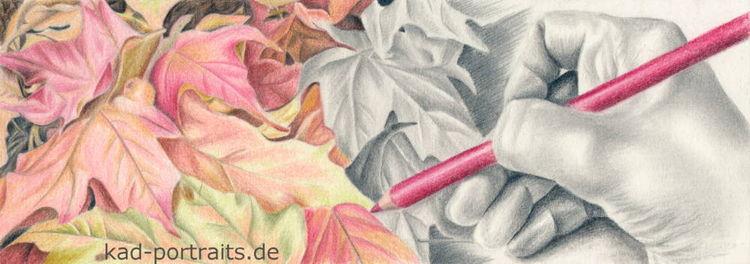 Laub, Blätter, Herbst, Zeichnung, Buntstiftzeichnung, Bleistiftzeichnung