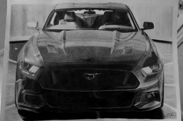 Ford, Mustang, 2015, Zeichnung, Auto, Pony