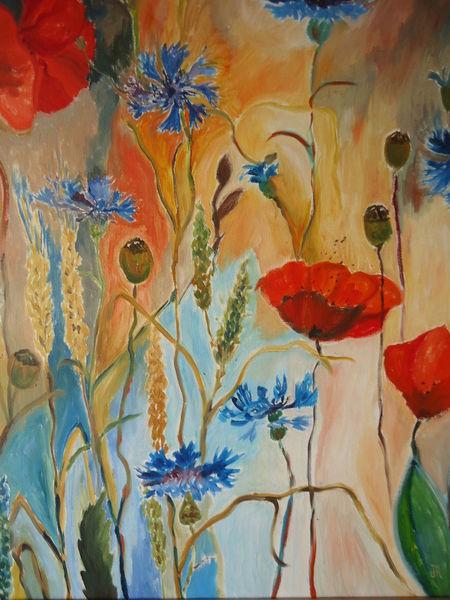 Mohn, Feld, Pflanzen, Blumen, Kornblumen, Malerei