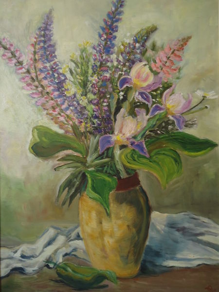 Vase, Stillleben, Blumen, Strauß, Malerei, Iris
