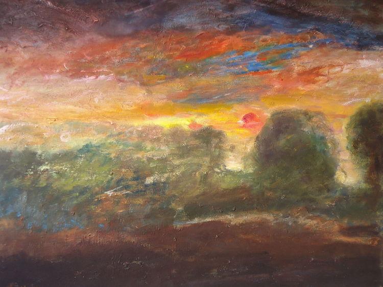 Feld, Baum, Sonne, Himmel, Abend, Wolken