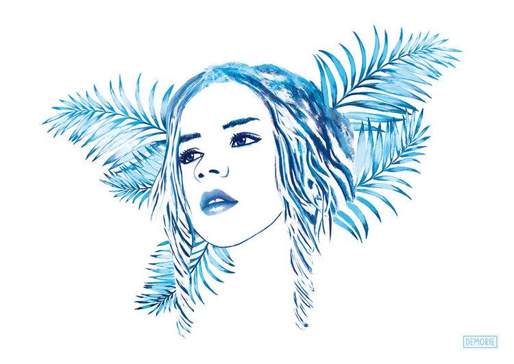 Meisterwerk, Gefühl, Lange haare, Blau, Traum, Aquarellmalerei