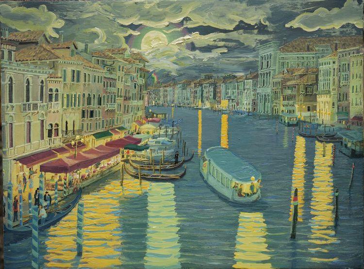 Abend, Gelb, Canal grande, Himmel, Gemälde, Mondnacht