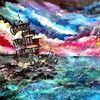 Welcome to the ocean - fantasie, bunt, wasser, Neon, Piraten, Schiff, blau, pink, orange, gelb, grün, welle