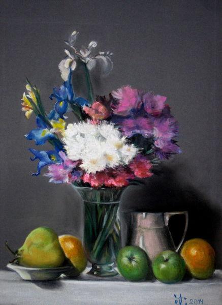 Weiß, Teller, Glasvase, Gelb, Blau, Obst