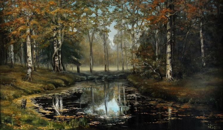 Baum, Ölmalerei, Grün, Wasser, Wald, Malerei