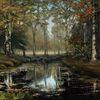 Wasser, Wald, Baum, Ölmalerei
