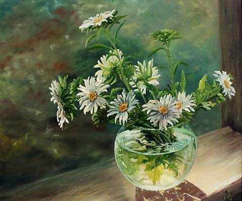 Weiß, Ölmalerei, Grün, Glasvase, Margariten, Blumen